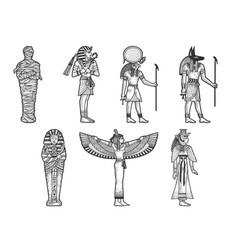 ancient egyptian set sketch vector image