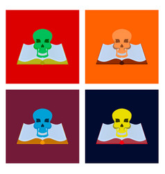 Assembly flat book skull vector