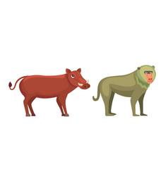 baboon monkey and warthog savanna animals in vector image