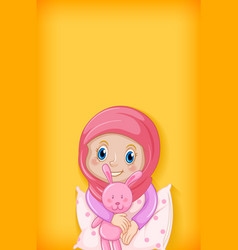 Background template design with happy muslim girl vector