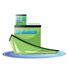 Big light green transport ship on white background vector