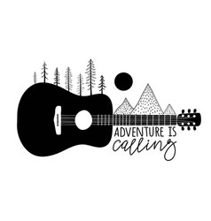 Black white with acoustic guitar pine trees vector