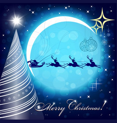 Blue christmas background with a bright moon vector