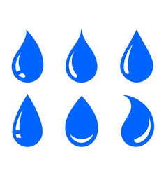 blue natural water drop icons set silhouettes vector image