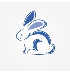 blue rabbit with simple lines vector image