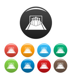 bowling pines icons set color vector image