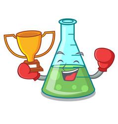 Boxing winner science beaker mascot cartoon vector
