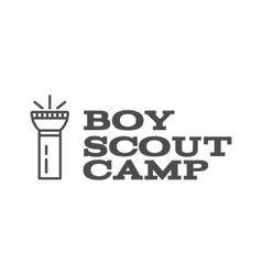 Boy scout camp logo design with typography and vector image