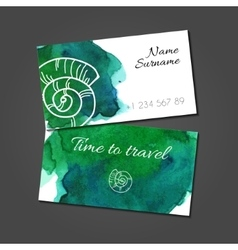 business card with seashell on watercolor stain vector image