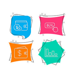 Buying accessory buy button and dollar wallet vector