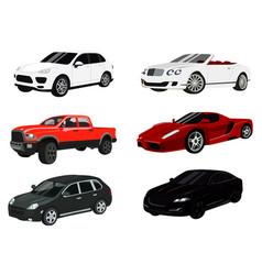 Cars color icon set auto symbols collection vector