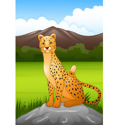 Cartoon cheetah sitting on a rock in african vector