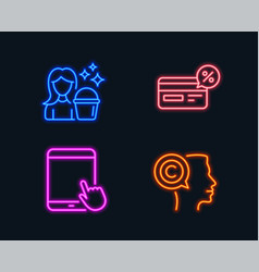 Cashback tablet pc and cleaning icons writer vector