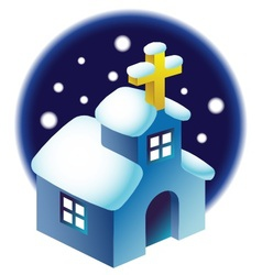 Chapel in the snow vector