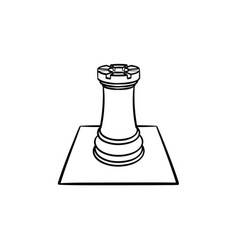 chess board and figure hand drawn sketch icon vector image