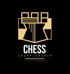Chess championship logo design emblem with tower vector