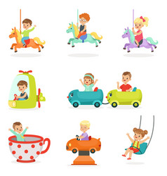 Children having fun in an amusement park set for vector
