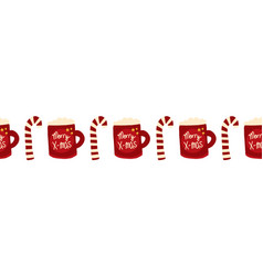 christmas seamless border with merry vector image