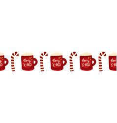 christmas seamless border with merry vector image