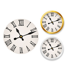 clock face retro wall tower clocks with vector image