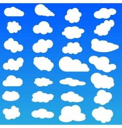 Cloud icon set white color on blue vector