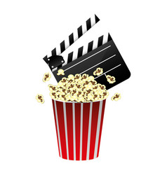 color clapper board and pop corn icon vector image