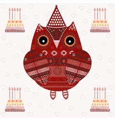 Cute owl with ethnic ornament birthday vector image