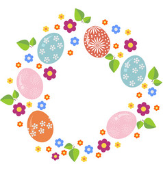 Easter wreath with easter eggs on white background vector