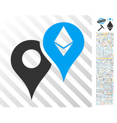 Ethereum map markers flat icon with bonus vector