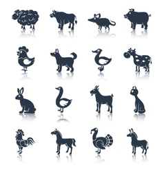 Farm animals set black vector image
