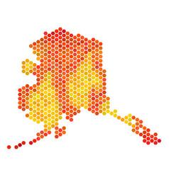 Fire hexagon alaska map vector