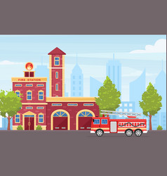 fire station building exterior flat vector image