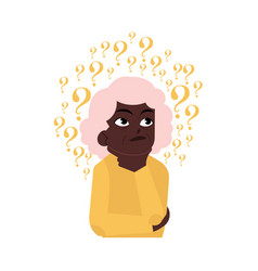 Flat old elderly black woman thinking vector