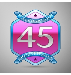 Forty five years anniversary celebration silver vector