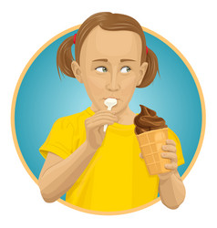 girl eating ice-cream vector image