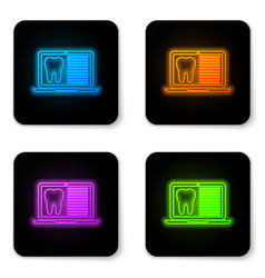 glowing neon laptop with dental card or patient vector image