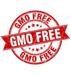 Gmo free round grunge ribbon stamp vector