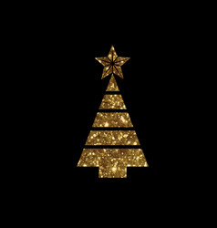 golden glitter christmas tree flat icon vector image