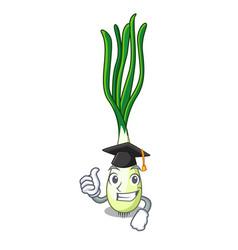 Graduation cartoon fresh green onions on cutting vector