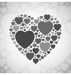 Grey and black heart shape on white background vector image