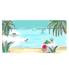 Hand drawn seaside landscape tropical resort vector