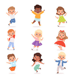 happy children cute playing kids in action poses vector image