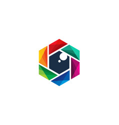 hexagon camera logo icon design vector image