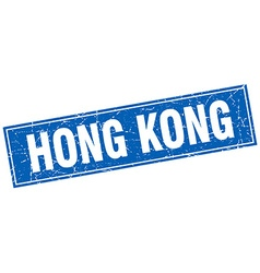 Hong Kong blue square grunge vintage isolated vector