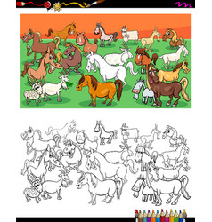 horses and goats characters group color book vector image