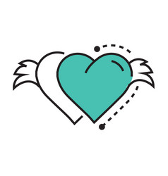 Icon twins hearts wings blue vector