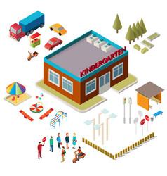 icons kindergarten building playground vector image