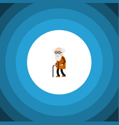 Isolated old man flat icon ancestor vector