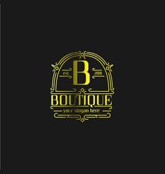 letter b vintage old style logo vector image