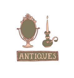 Light academia concept antique mirror vector